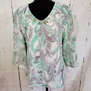 Alfred Dunner Petite Plus Size Paisley Print Top